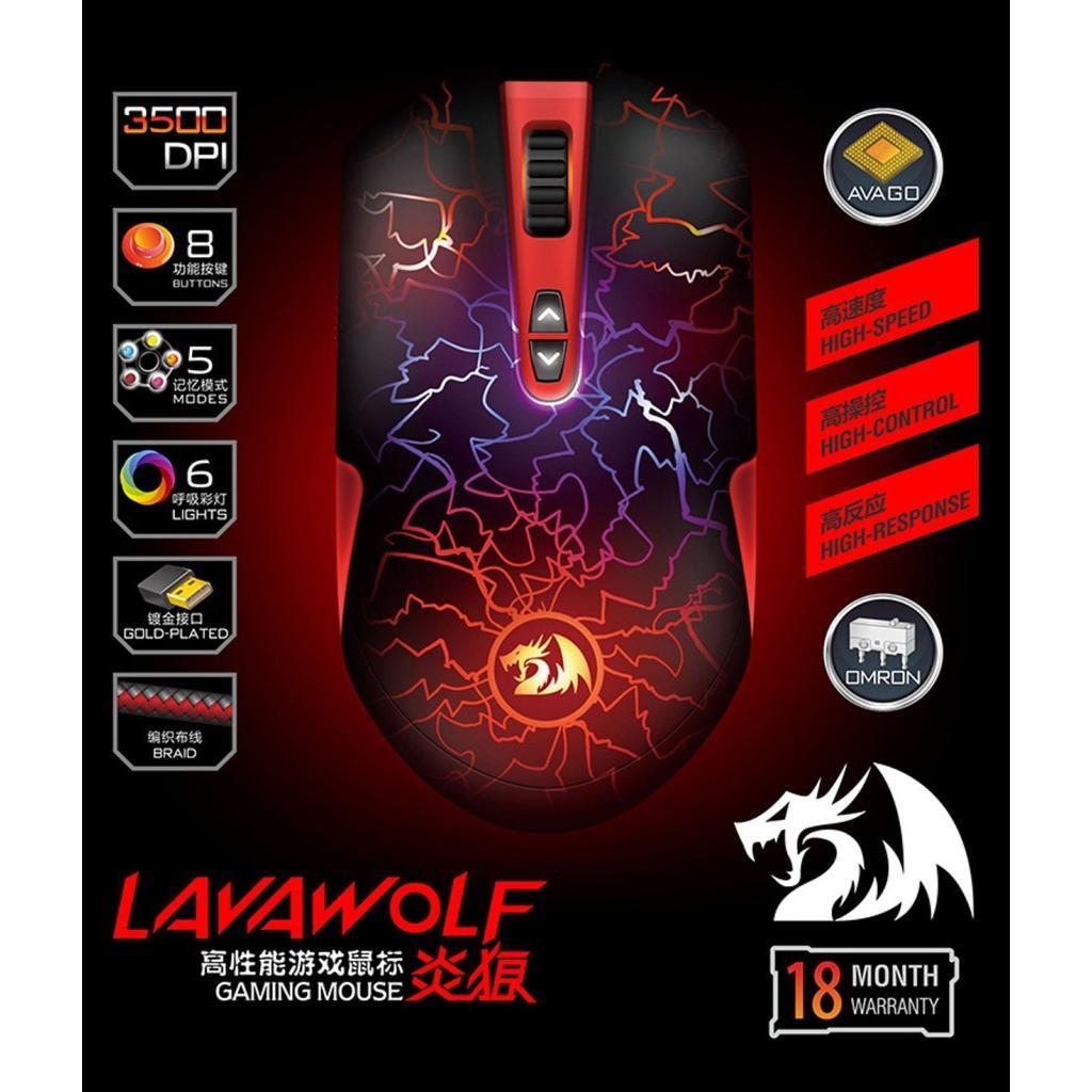 Mouse Ottico Gaming USB 3500 dpi 8 Tasti Lavawolf M701W Bianco