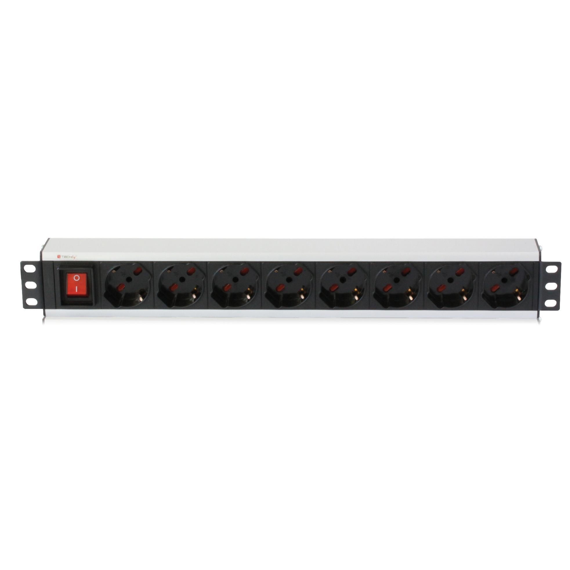 Multipresa per rack 19'' 8 posti con interruttore Cavo 3m