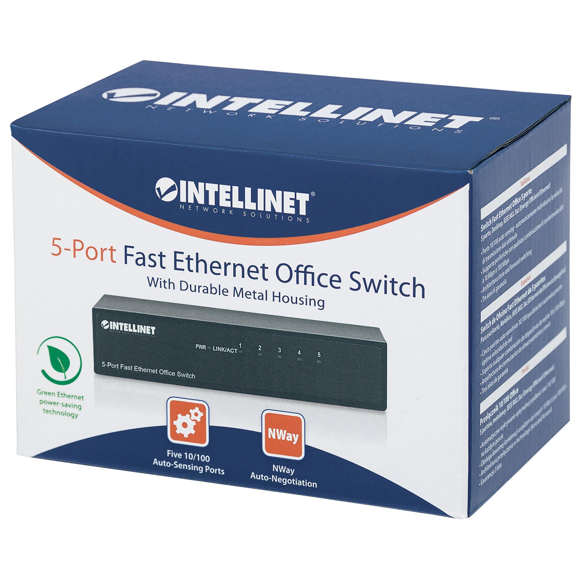 Switch Hub ethernet 10/100Mbps 5 porte desktop in metallo