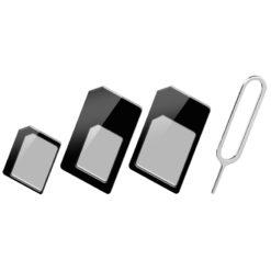 Adattatore Scheda SIM (4 in 1) nano-SIM, Micro-SIM e SIM Nero