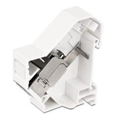 Adattatore su barra DIN per modulo RJ45 Keystone Schermato