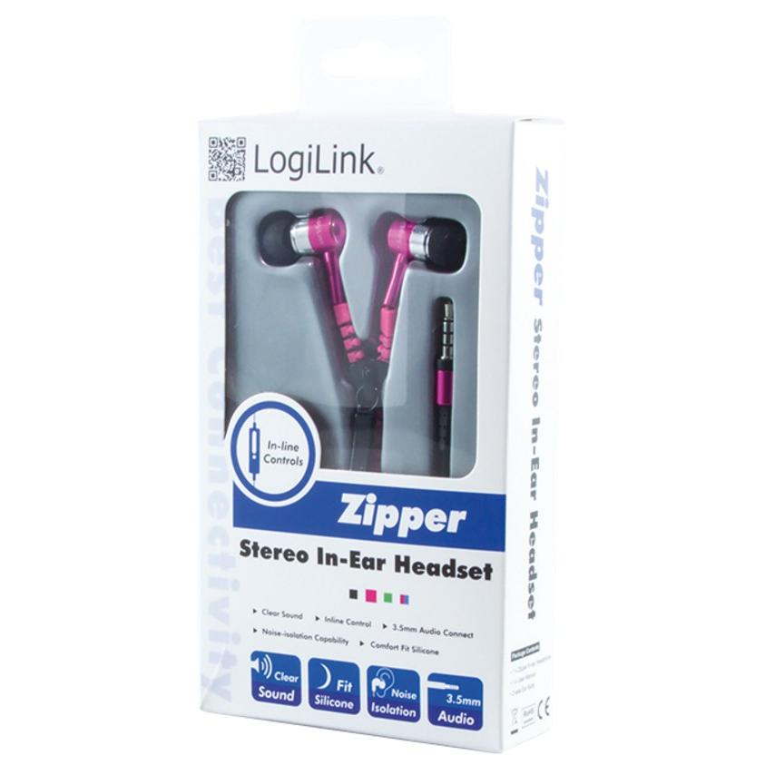 Auricolari Stereo Zipper con Microfono e Telecomando Fucsia