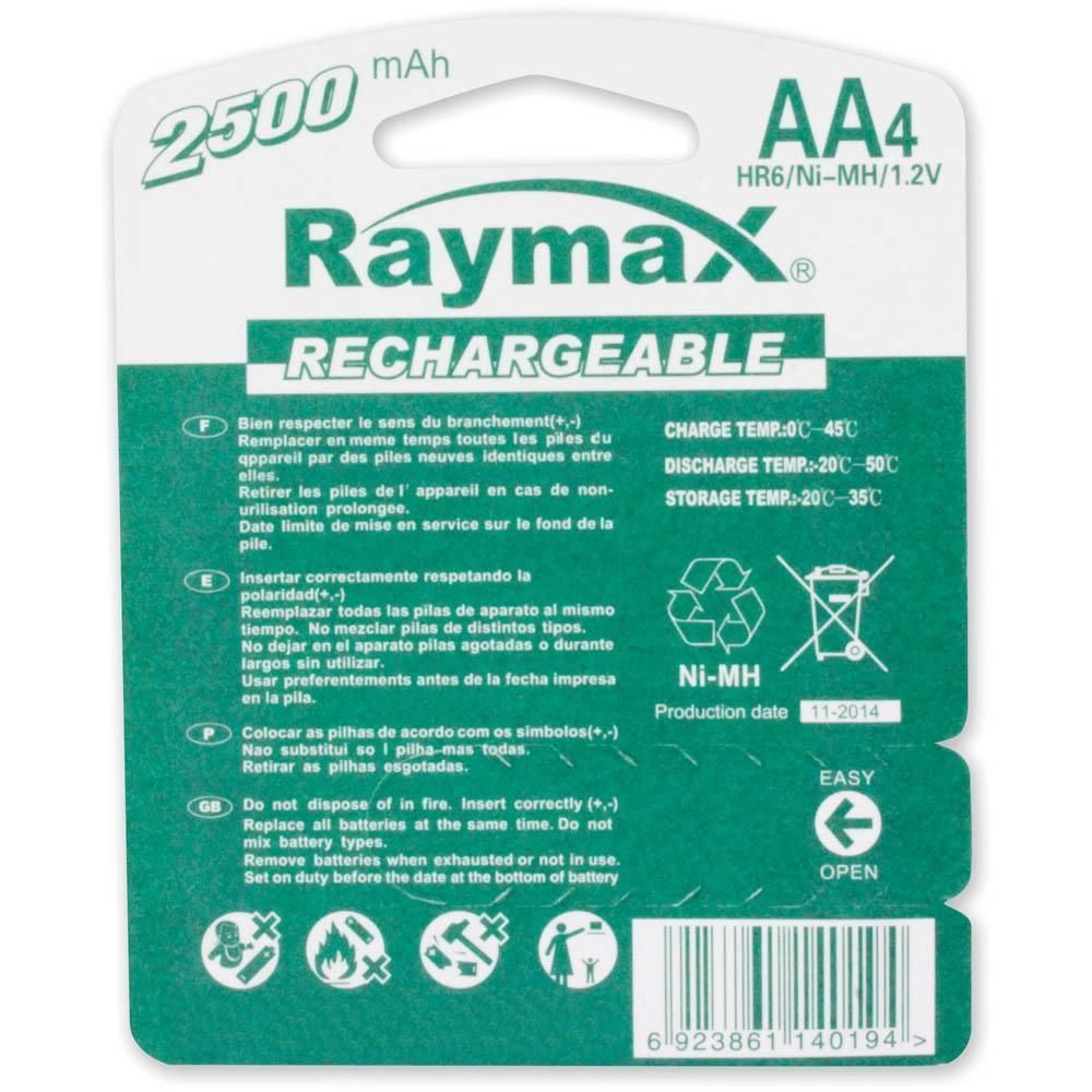 Blister 4 Batterie Ricaricabili Stilo AA 2500 mAh