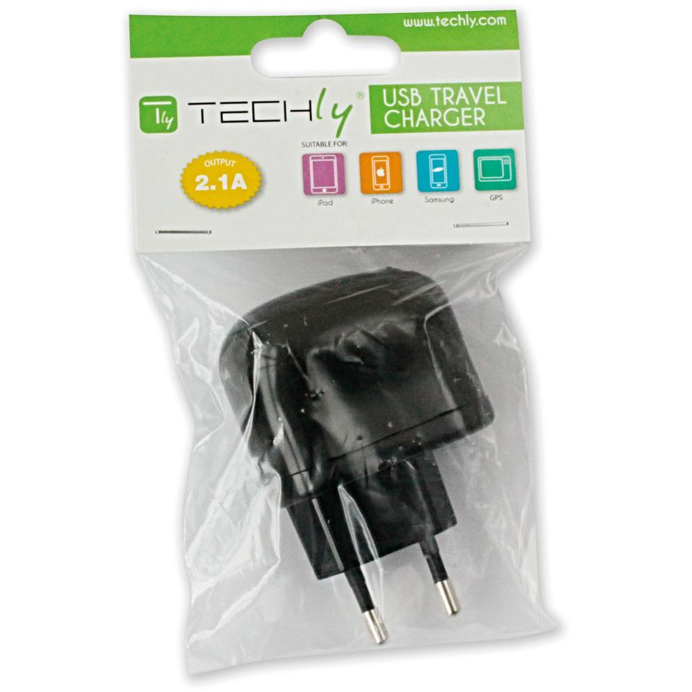 Caricatore 2 USB 2,1A Spina Europea 2 pin Nero