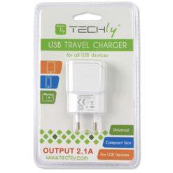 Caricatore USB 2,1A Compatto Spina Europea 2pin Bianco