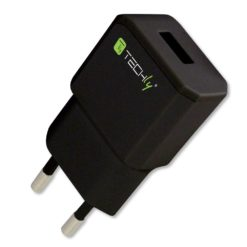 Caricatore USB 2,1A Compatto Spina Europea 2pin Nero
