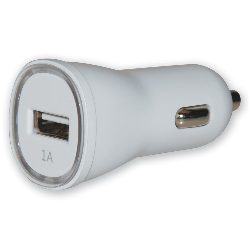 Caricatore da Auto 1p USB con uscita 5V / 1Ah Bianco