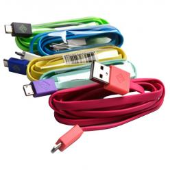 Cavo Flat USB AM a Micro USB M 1m A Rosa / Corallo