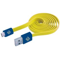 Cavo Flat USB AM a Micro USB M 1m Giallo / Blu