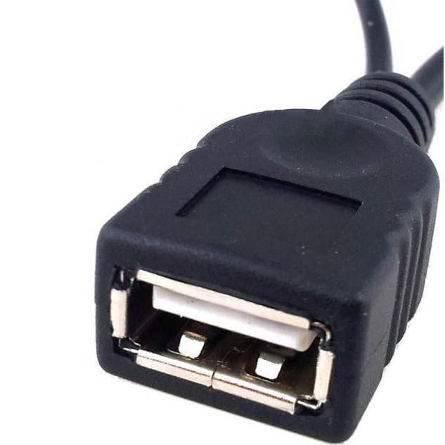 Cavo USB A F 2.0 OTG Micro USB M con Alimentazione USB, 30cm Nero