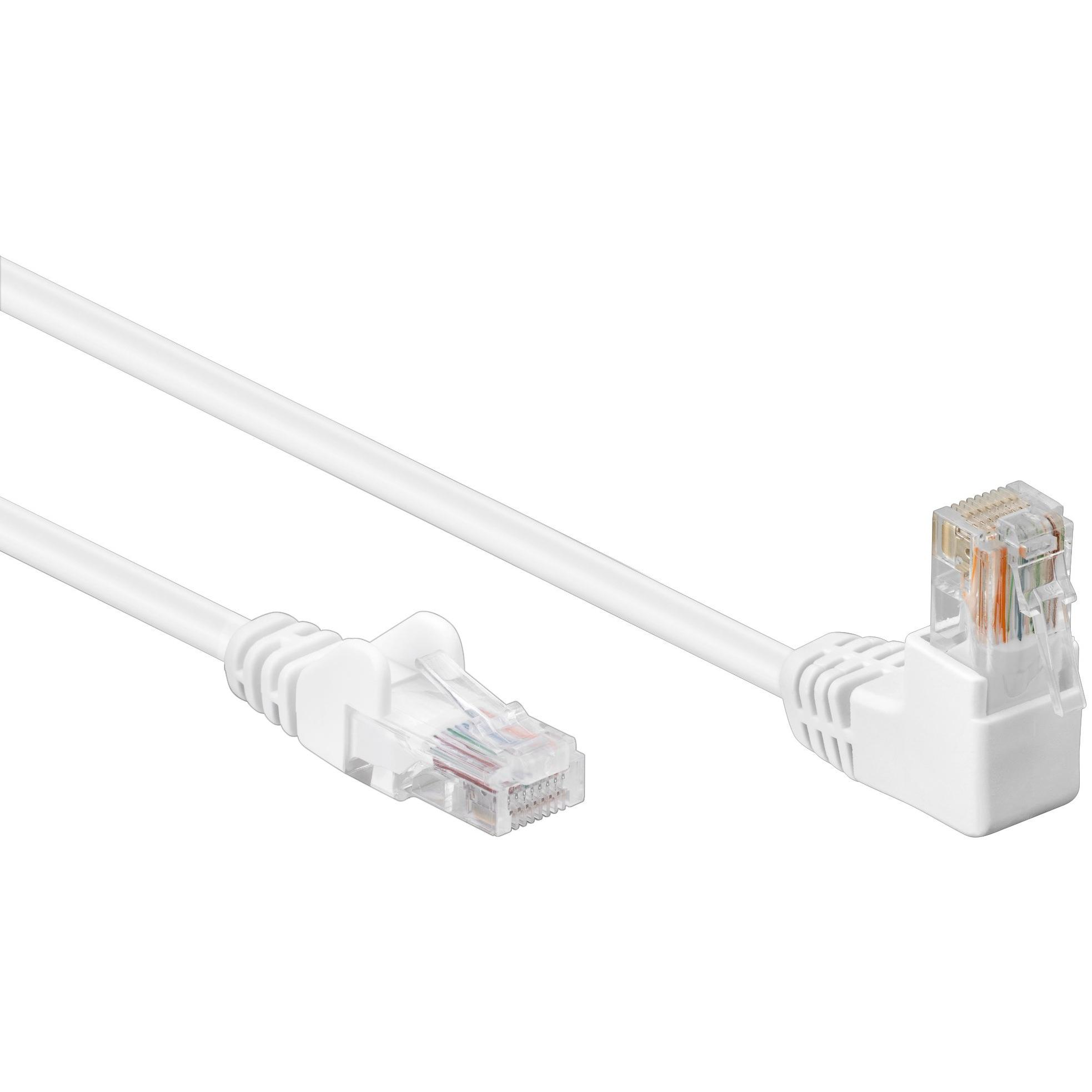 Cavo di rete Patch Connettore Angolato 90° CCA Cat. 5e UTP 3m Bianco