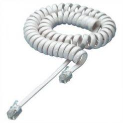 Cavo telefonico spiralato per cornetta 7mt RJ10 4P4C Bianco