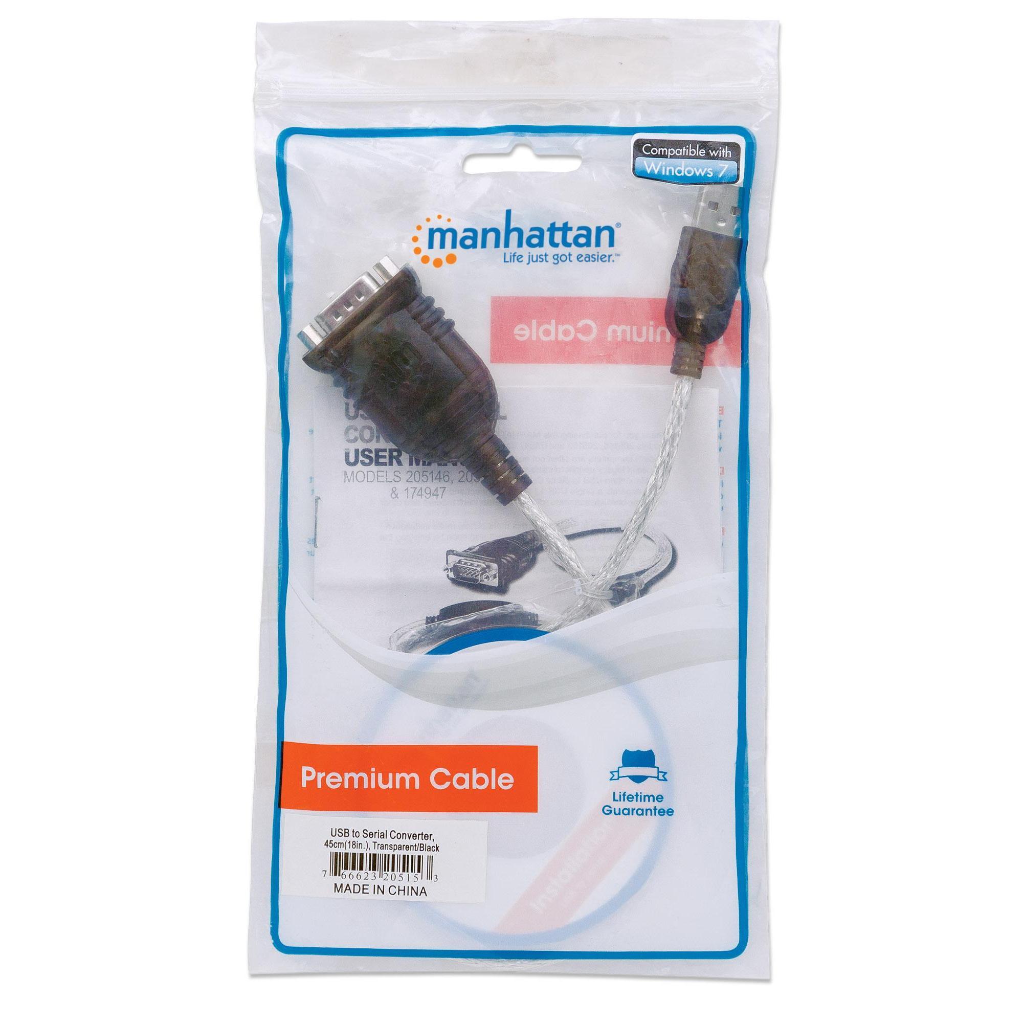 Convertitore Adattatore Manhattan 205153 da USB a Seriale in Sacchetto