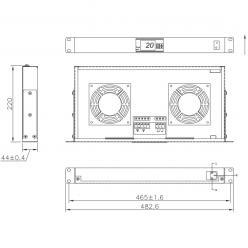 Gruppo 2 Ventole 1U per Rack 19'' con Termostato LED Grigio