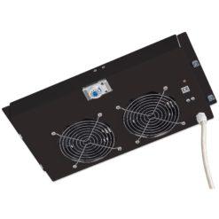 Gruppo di ventilazione a soffitto per Rack 19'' 2 Ventole Nero