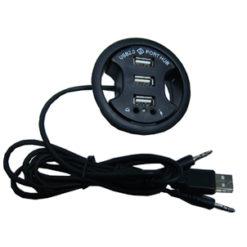 Hub USB 3 porte + audio da scrivania 6 cm , col. nero