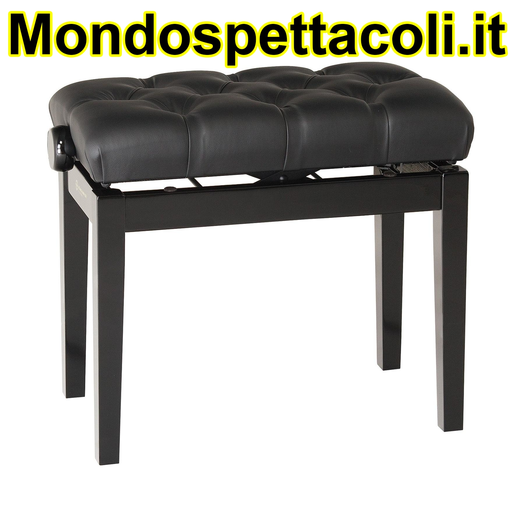 K&M bench black glossy finish, seat black imitation leather Piano bench with quilted seat cushion 13980-200-21
