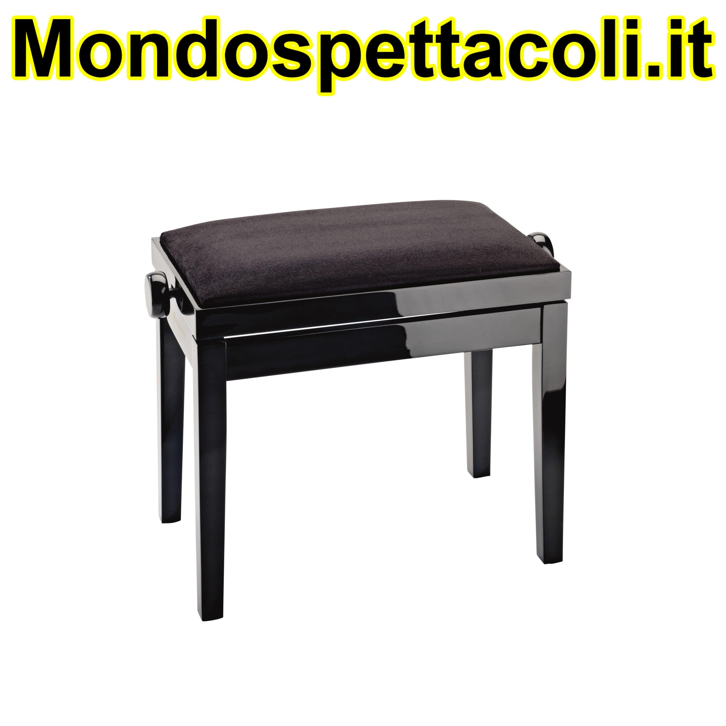 K&M bench black glossy finish, seat black velvet Piano bench 13901-100-21