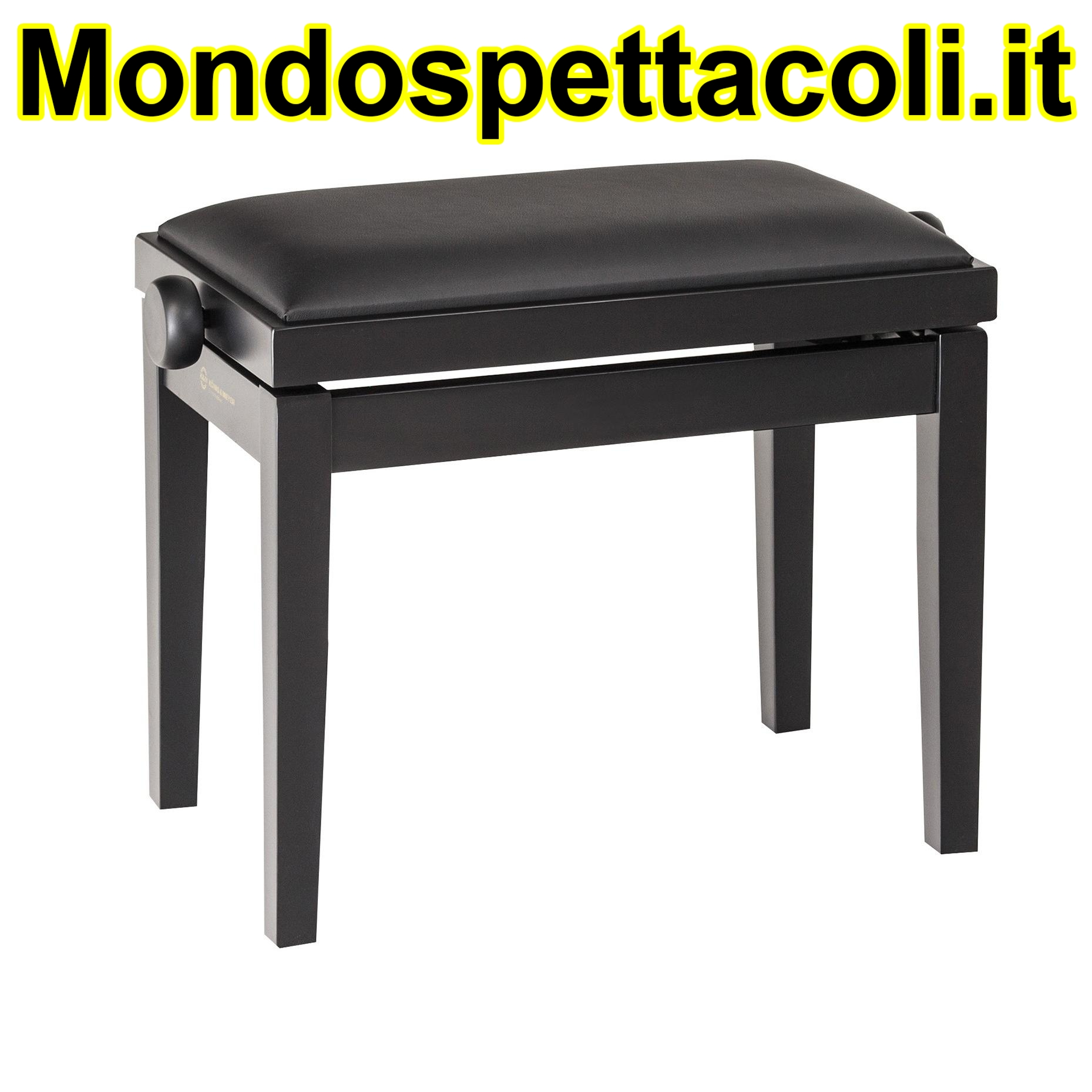 K&M bench black matt finish, seat black imitation leather Piano bench 13910-200-20
