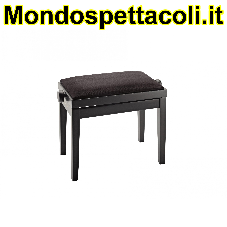 K&M bench black matt finish, seat black velvet Piano bench 13900-100-20