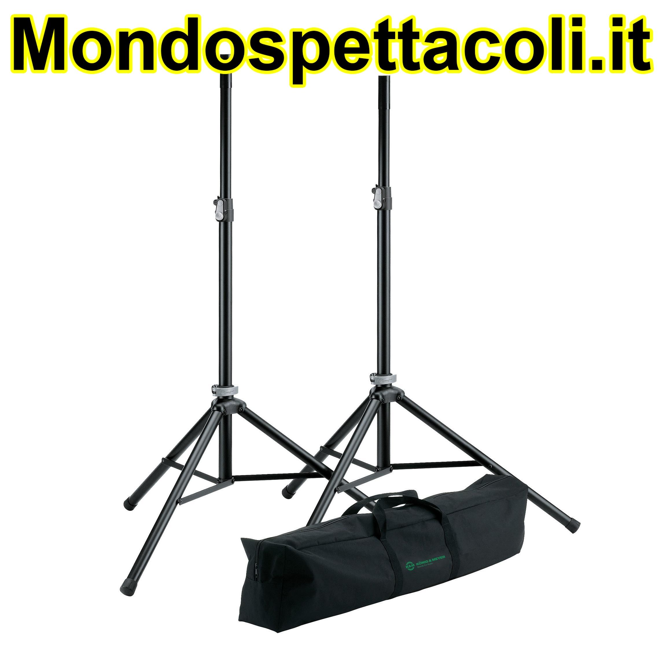 K&M black Speaker stand package 21449-000-55