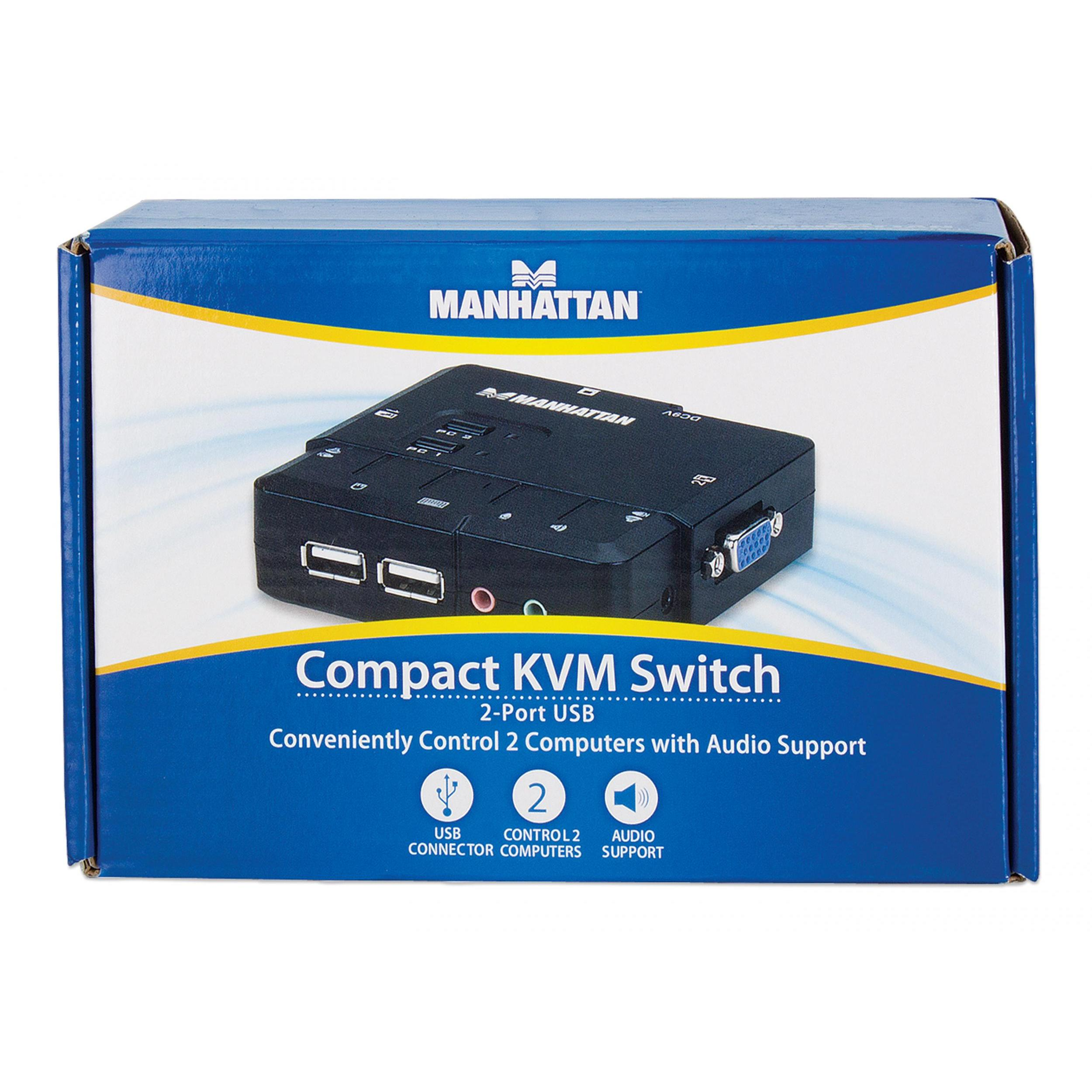 KVM Switch 2 Porte USB/Audio Nero