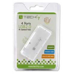 Mini Hub USB Hi Speed 4 Porte Bianco