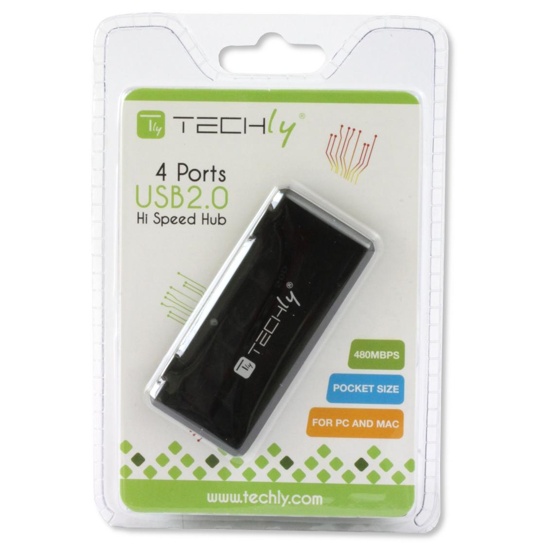 Mini Hub USB Hi Speed 4 Porte Nero