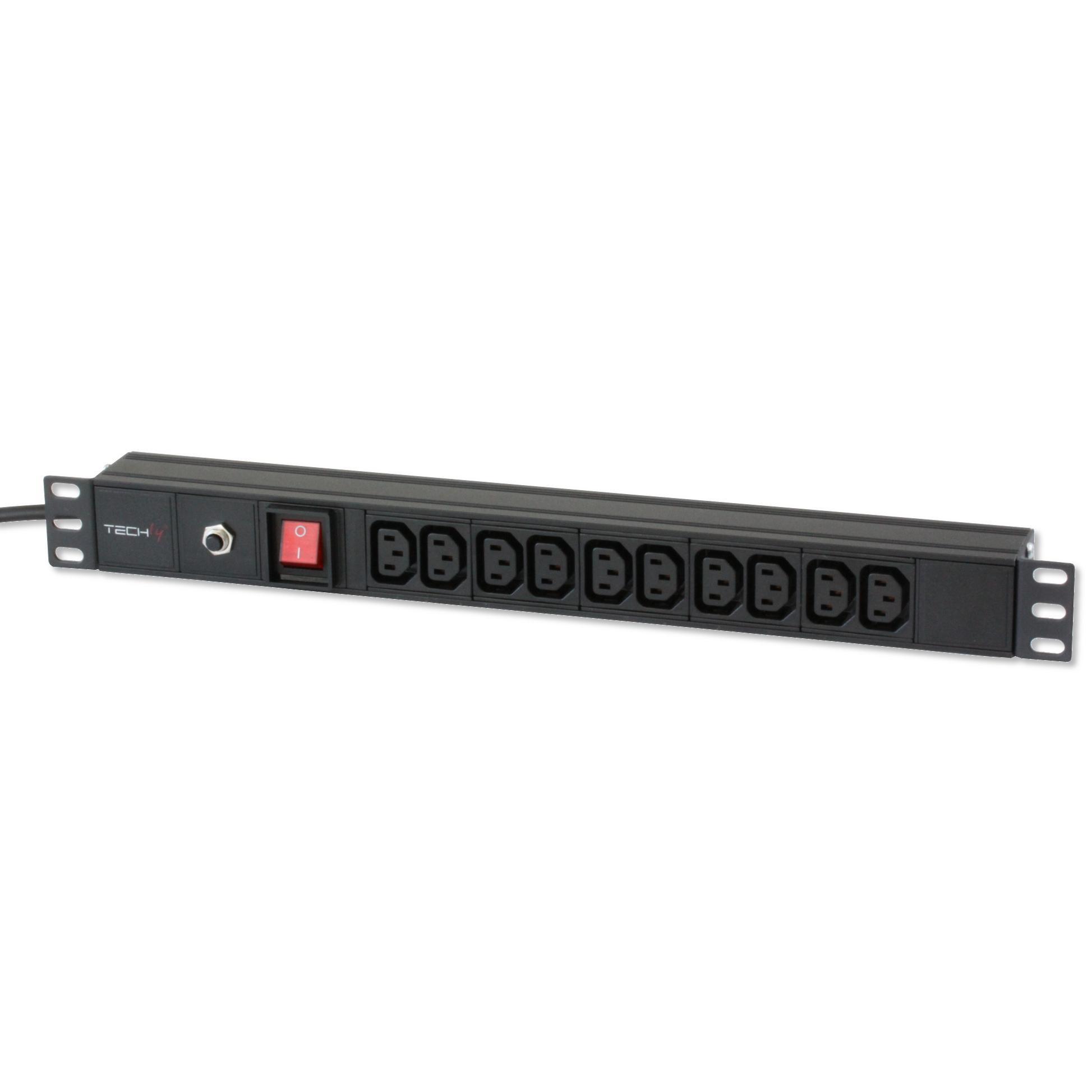 Multipresa per rack 19'' 10 posti VDE con Interruttore e Spina C14