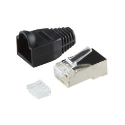 Plug Cat.6 RJ45 e Copriconnettore per Cavo Schermato, 100pz Nero