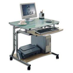 Scrivania per PC Compatta in Metallo e Vetro con Ruote