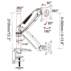 Supporto Tubolare a Gas da Scrivania per Monitor 15-27'' 360mm Nero