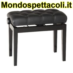 K&M bench black glossy finish, seat black leather Piano bench with quilted seat cushion 13981-400-21