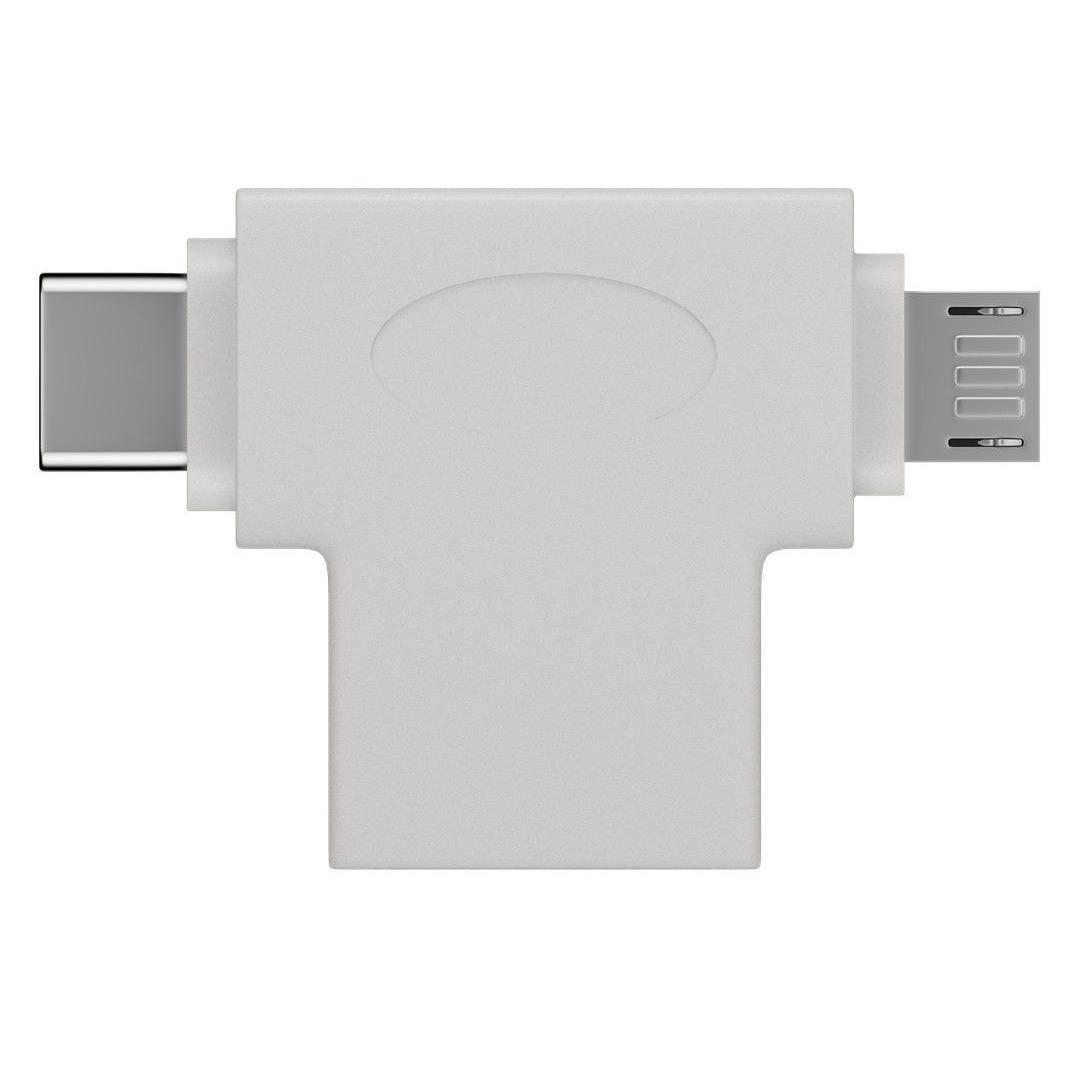 Adattatore a T USB-A, Micro-B e USB-C™ Bianco