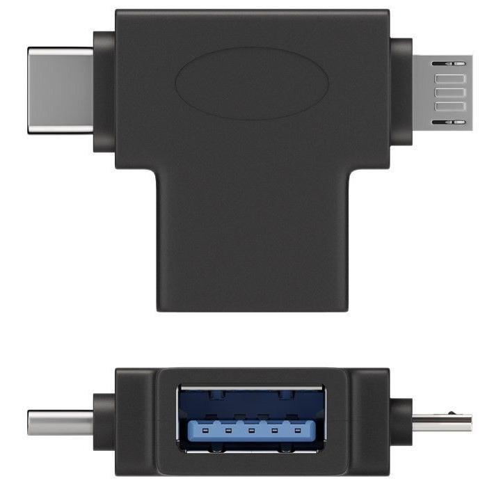 Adattatore a T USB-A, Micro-B e USB-C™ Nero