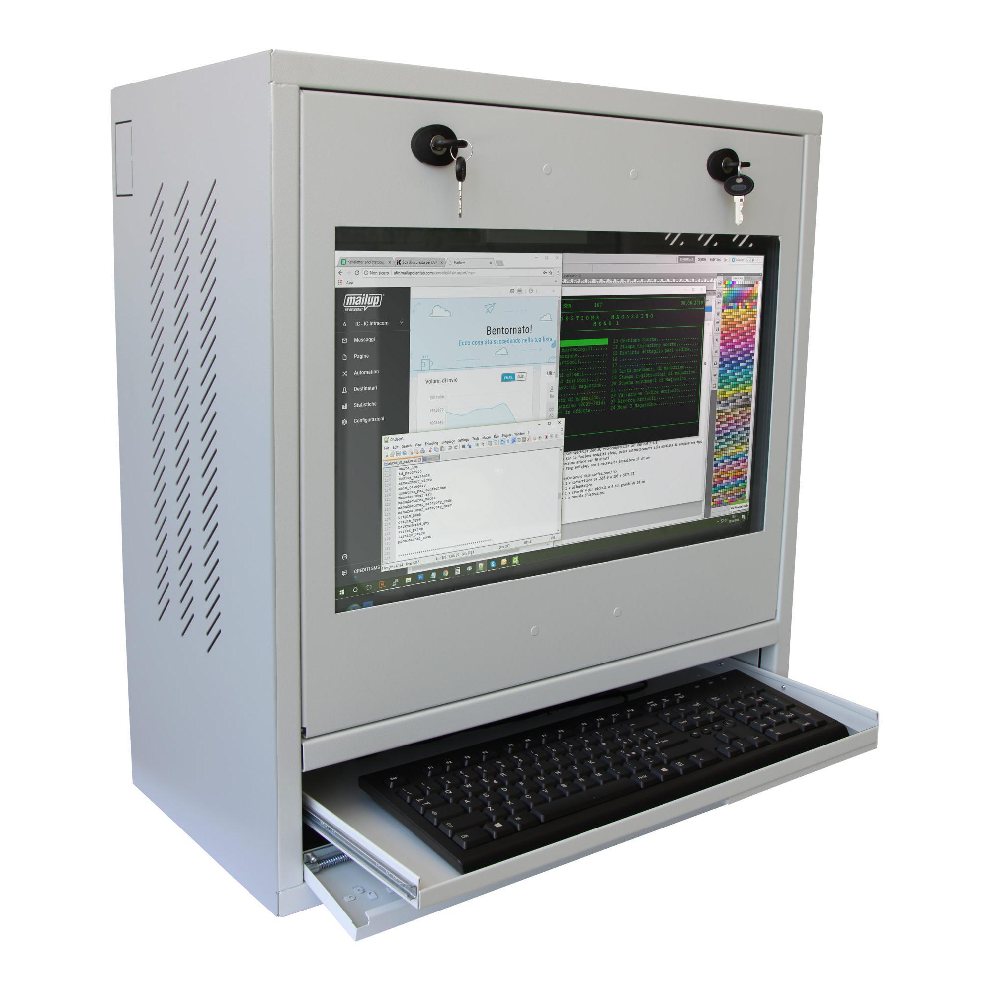 Armadio di sicurezza PC, monitor LCD e tastiera Grigio Ricondizionato