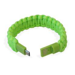 Bracciale Paracord con Micro USB Verde