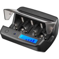 Caricabatteria da tavolo LCD universale