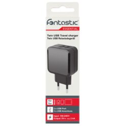 Caricatore 2 USB 2,1A Compatto Spina Europea 2 pin Nero