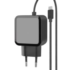 Caricatore con Cavo USB-C 2,4A Spina Europea 2 pin Nero
