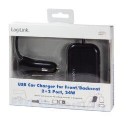 Caricatore da Auto 2 USB + 2 USB per Passeggeri Posteriori 24W