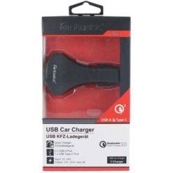 Caricatore da Auto 2 USB + USB-C con uscita 3A Quick Charge 3.0 Nero