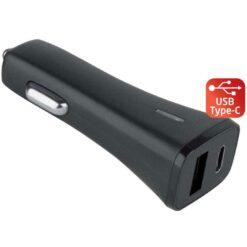 Caricatore da Auto USB + USB-C con uscita 3A Nero