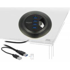 Hub USB 3.0 4 porte In-Desk Diametro 6 e 8 cm