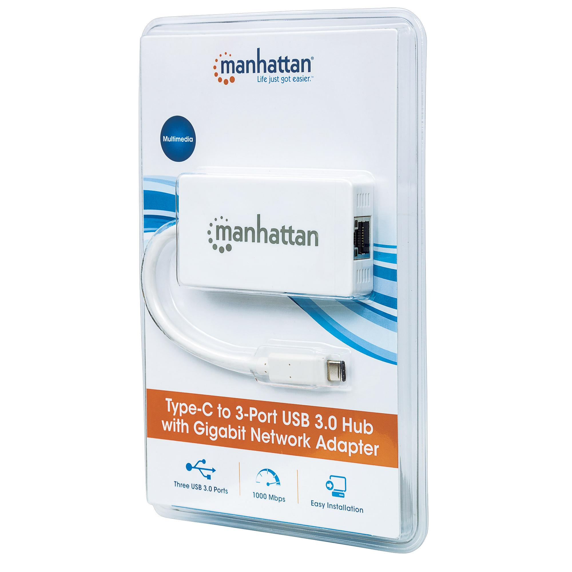 Hub USB-C™ 3 porte USB-A 3.0 con Adattatore Ethernet Gigabit