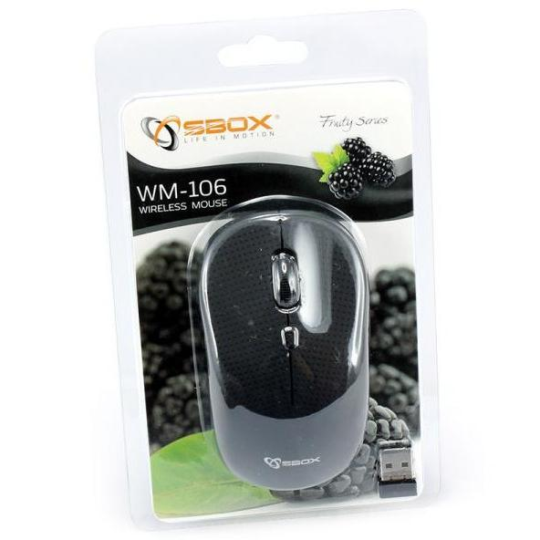 Mouse Wireless 1600dpi WM-106B Blackberry Nero