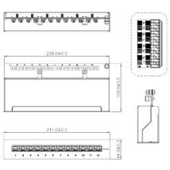 Pannello Patch 12 Posti RJ45 STP Cat. 6A Nero Desktop