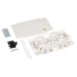 Sistema completo con vassoio portagiunti per connessioni fibra ottica a fusione