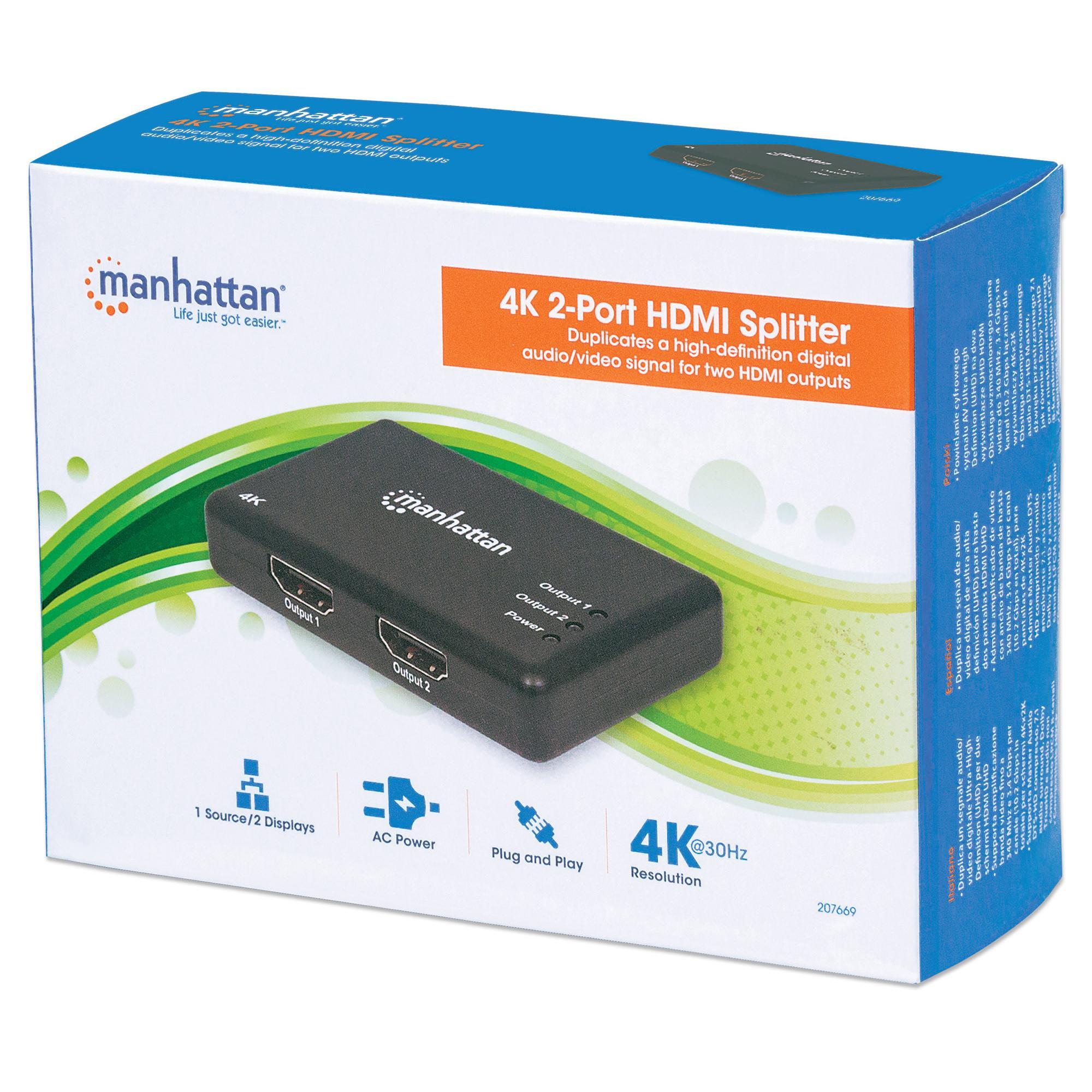 Splitter HDMI 4K UHD 3D con LED 2 vie