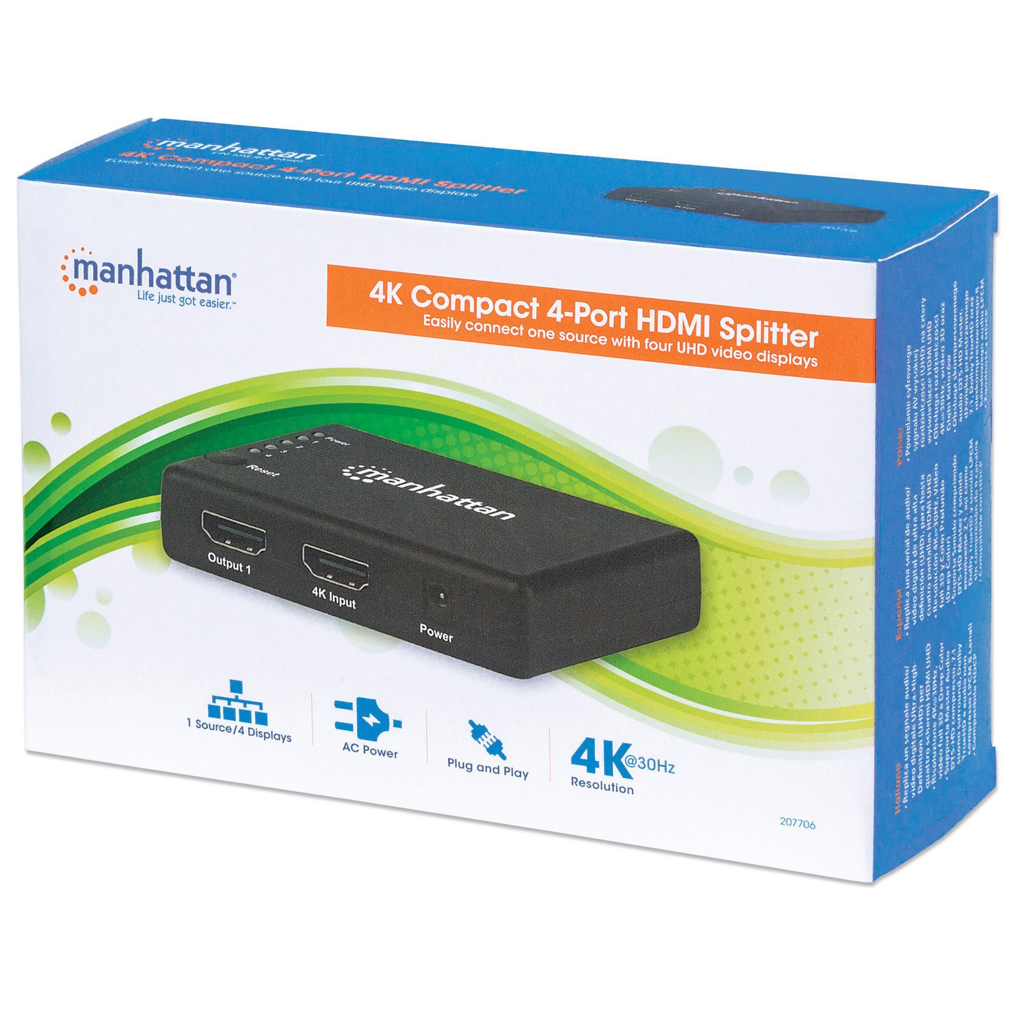 Splitter HDMI 4K UHD 3D con LED 4 vie
